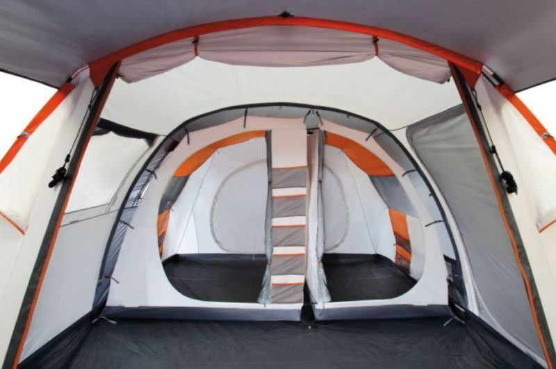 View inside, the sleeping area with two inner tents.
