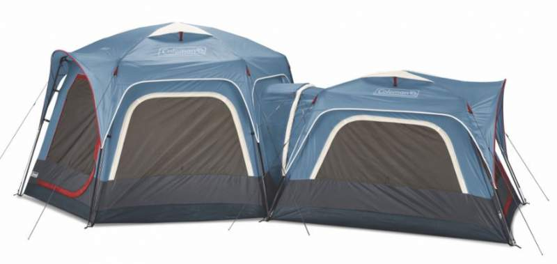 The 3-person tent connected to 6-person tent.