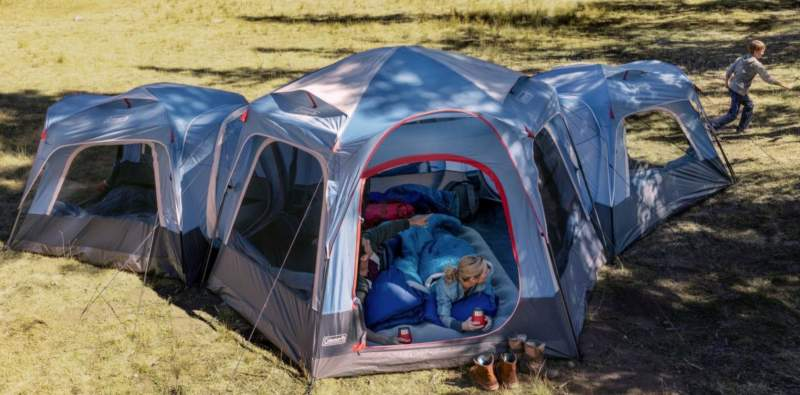 Three tents connected together.