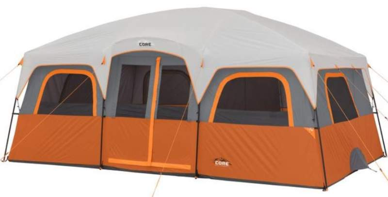 CORE 12 Person Extra Large Straight Wall Cabin Tent.