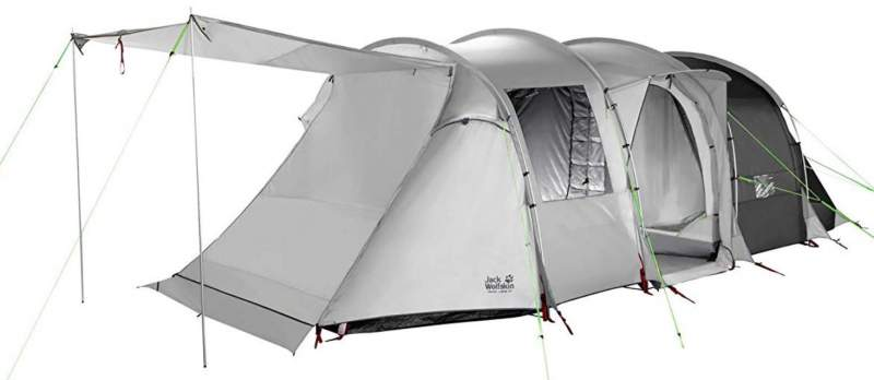 Jack Wolfskin Travel Lodge tent with a removable floor in the living area.