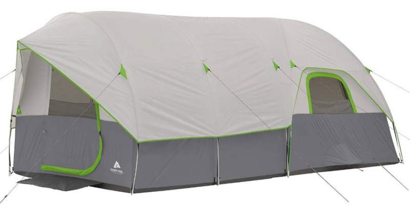 Ozark Trail 16' x 9' Modified Dome Tunnel Tent shown with the fly on.