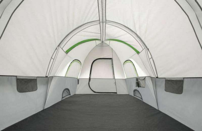 The inner view from the tunnel-shaped side of the tent, the dome section is on the other end.