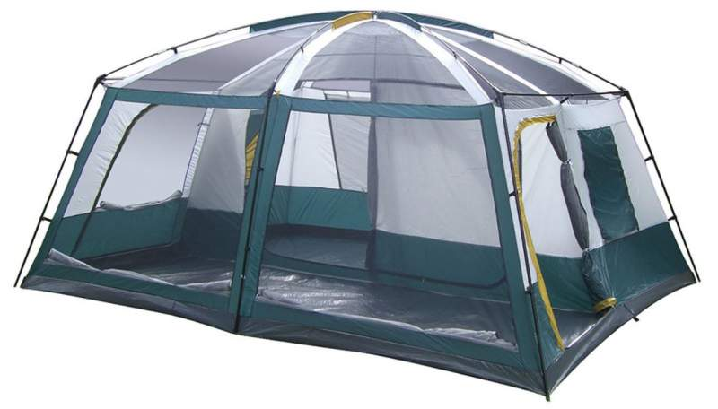 This is the tent shown without the fly and with open front windows.