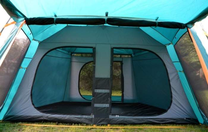 View inside, the inner tent with its two inner front doors and one back door.