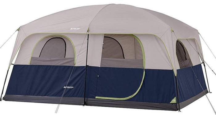 Ozark Trail 10 Person 2 Room Straight Wall Family Cabin Tent.