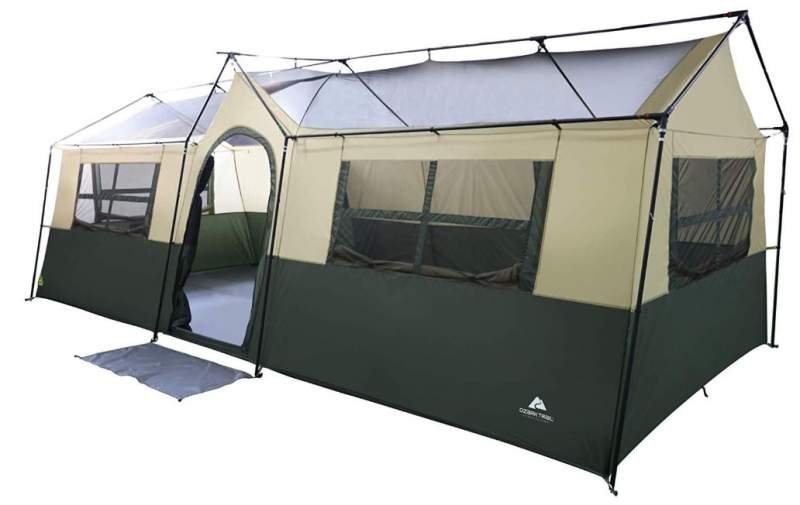 Ozark Trail Hazel Creek 12 Person Cabin Tent shown without the fly.