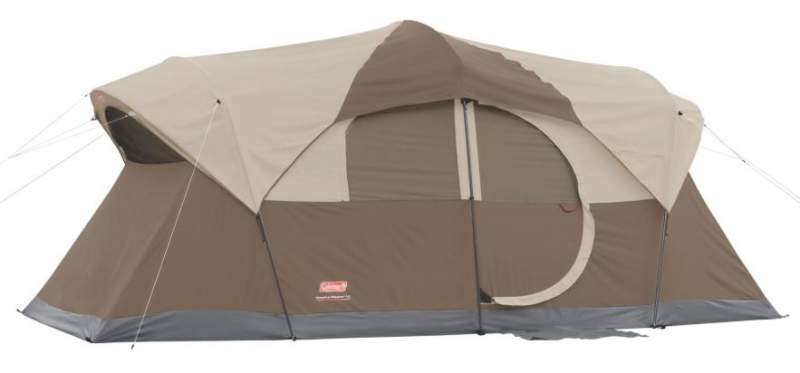Coleman WeatherMaster 10 tent with the fly on - the hinged door side.