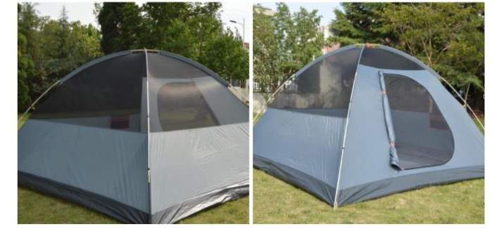The tent shown without the fly, the back and the front.