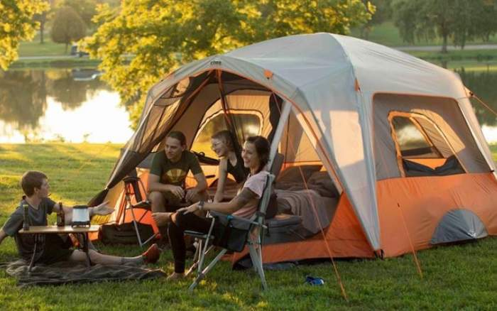 Core 6 Person Straight Wall Cabin Tent with a Screen Room.