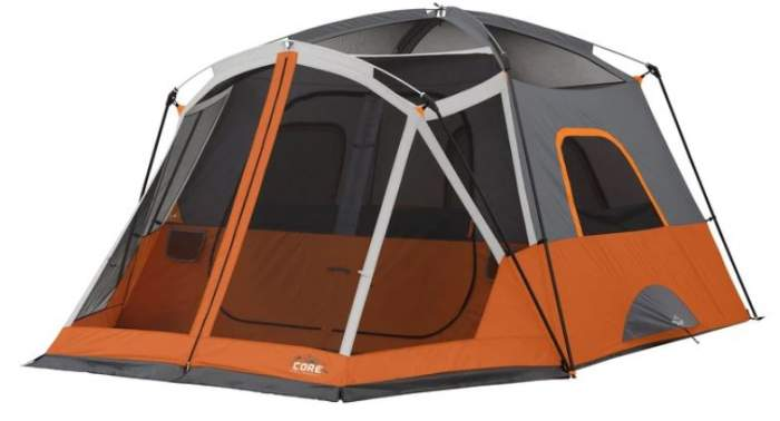 Core 6 Person Straight Wall Cabin Tent with a Screen Room shown without the fly.