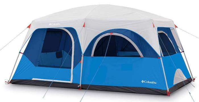 Columbia Mammoth Creek 8 Person Cabin Tent with the fly on.