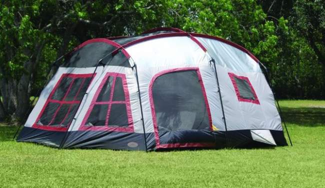 Freestanding and very tall cabin tent.