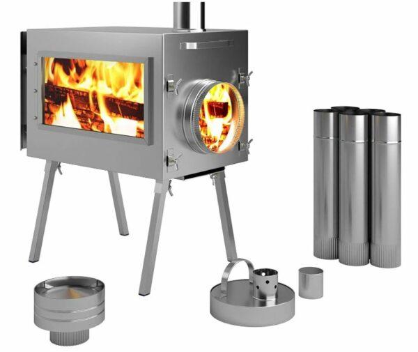 Russian-Bear Caminus wood burning stove.