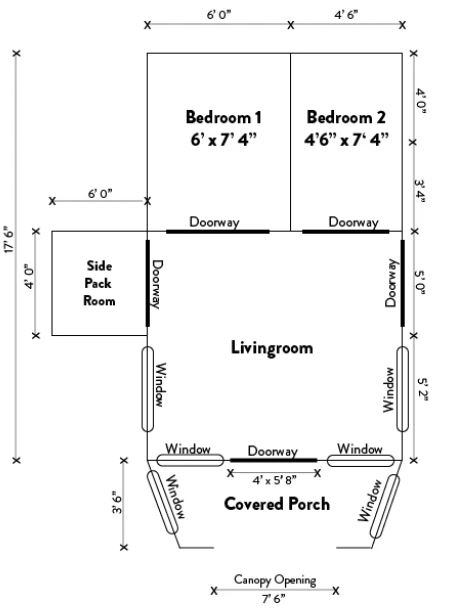 The floor plan and its dimensions.