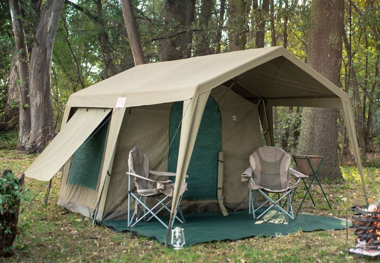 Bushtec Adventure Delta Zulu Combo Canvas 4 Person Chalet Tent with Gazebo.