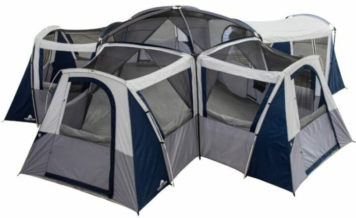 Ozark Trail Hazel Creek 20-Person Star Tent shown without the fly.