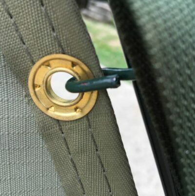 Metal eyelets and hooks.