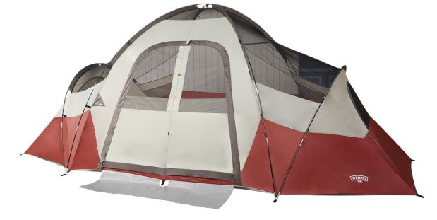 The tent shown without fly reveals its structure.