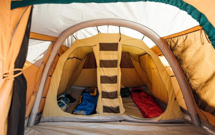 View of the inner tent with two sleeping rooms,