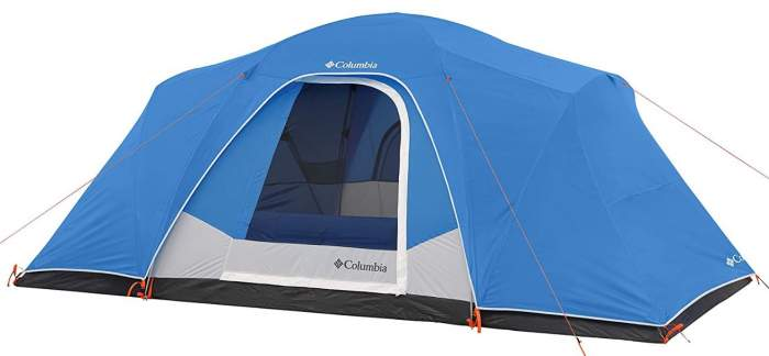 Columbia Modified 8 Person Dome Tent front view.