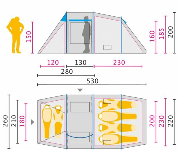 The floor plan and the most important dimensions.