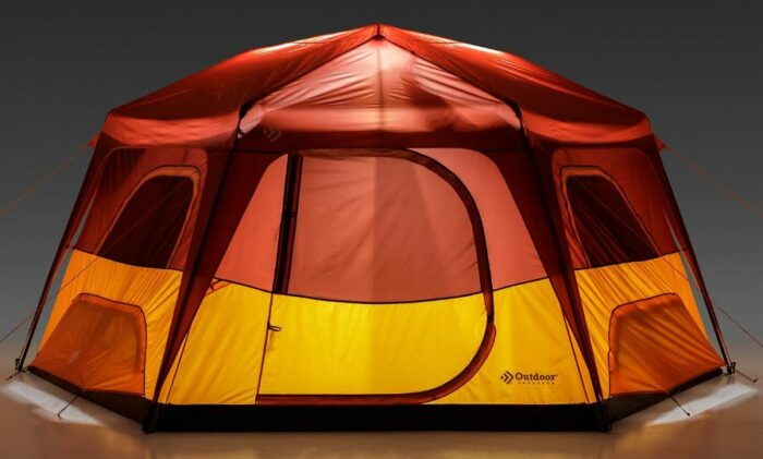 This is the tent with its integrated lights on.