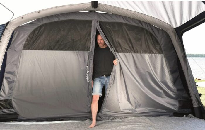 This is the inner tent with the sleeping area, view from the living room.