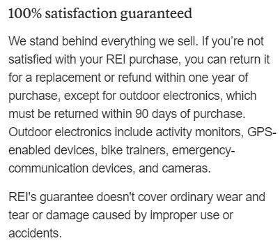 REI's warranty.