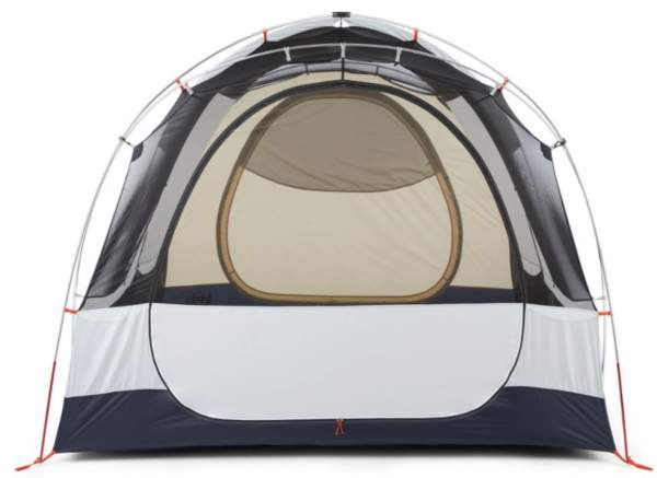 The front view with the closed inner door showing taffeta in the lower area of the door and the tent.