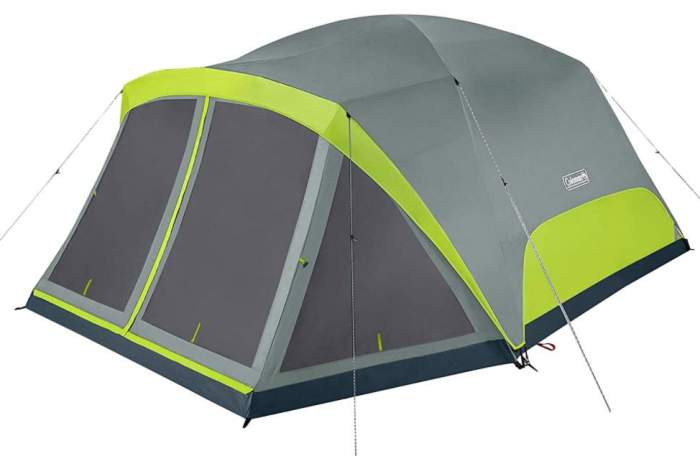 Coleman Camping Tent Skydome 8 Person with Screen Room.