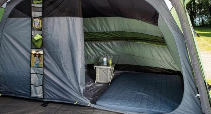 The inner tent with two separate sleeping rooms.
