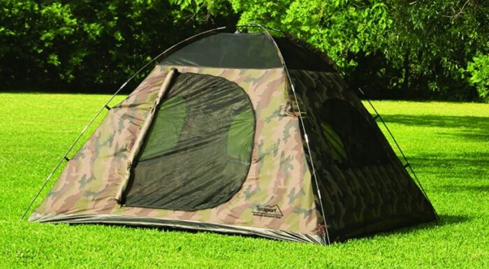 A very simple dome-style tent.
