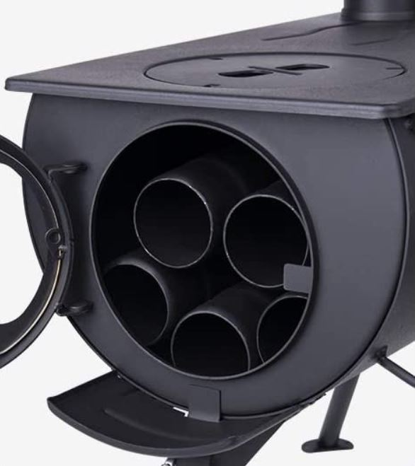 The pipe fits inside the stove for transportation.