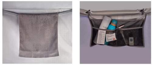 Towel hanging string and wall pockets.