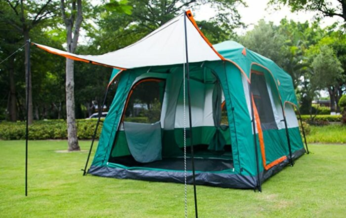 Awning configuration with a pair of included poles.