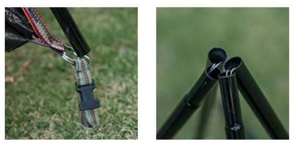 Pin-and-ring attachment system and shock-corded poles.
