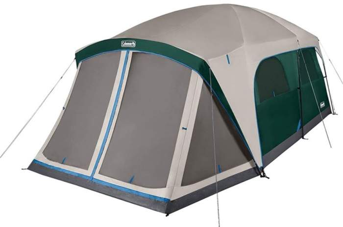 Coleman Skylodge 12 Person Tent with Screen Room fully closed.