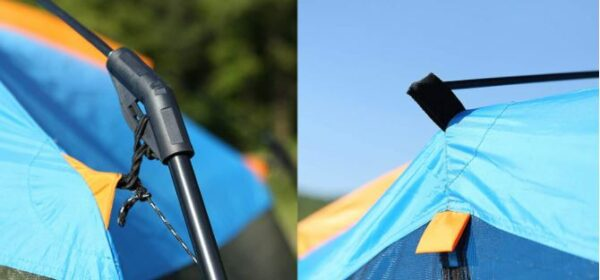 One of pre-attached pole connectors left, and the ridge roof pole attachment pocket right.