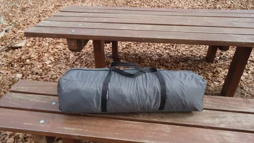 The carry bag with two straps.