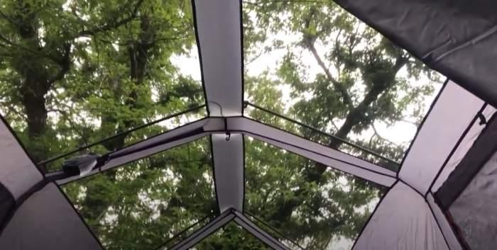 Mesh ceiling.