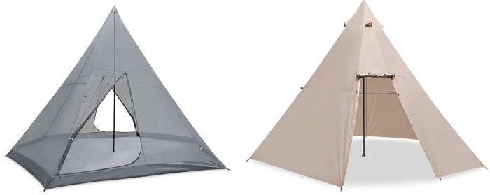 Two-layer modern tipi tent.