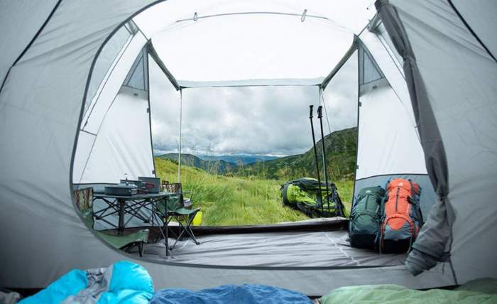View out from the inner tent.
