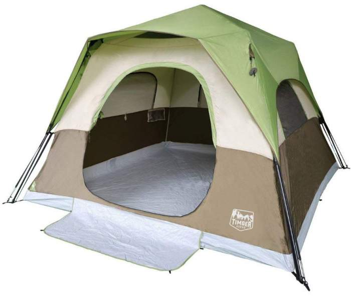 Timber Ridge 6 Person Instant Cabin Tent With Rain Fly.