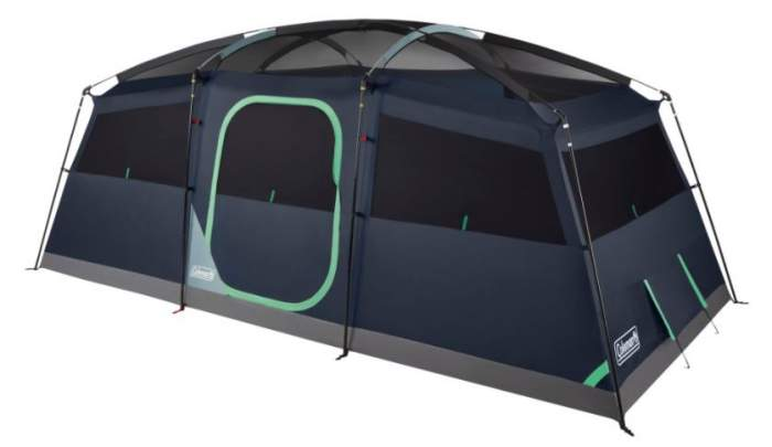 Cabin-style tent with mesh ceiling.