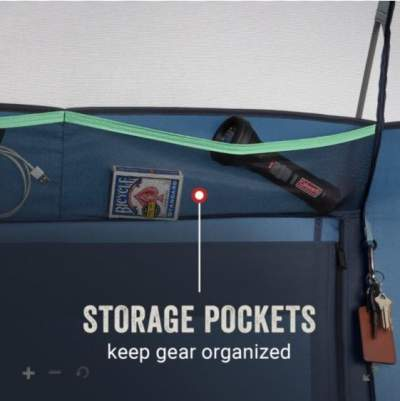 Wall pouches for storage.