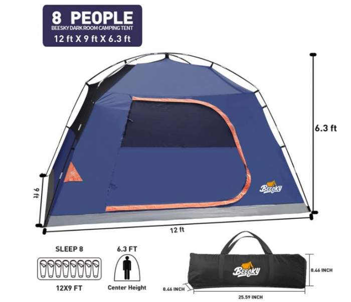 Some important numbers and the tent shown without the fly.