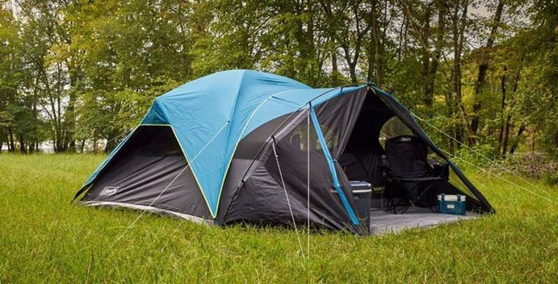Coleman 8-Person Carlsbad Dark Room Dome Camping Tent with Screen Room.