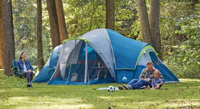 Ozark Trail 10-Person Family Camping Tent with 3 Rooms and Screen Porch.