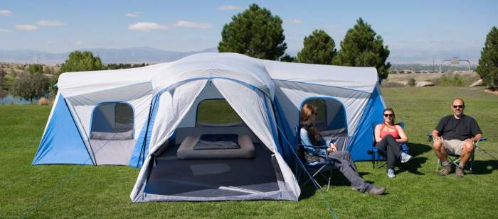 Tall and large cabin-type tent.